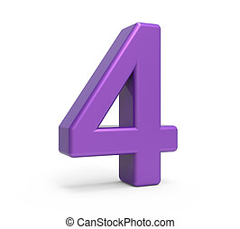 3d purple number 4 - left leaning 3d rendering purple number...