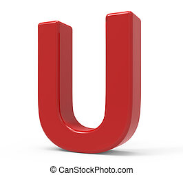 3d red letter U - right leaning 3d rendering red letter U...