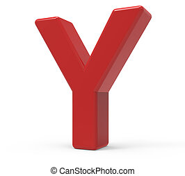 3d red letter Y - right leaning 3d rendering red letter Y...