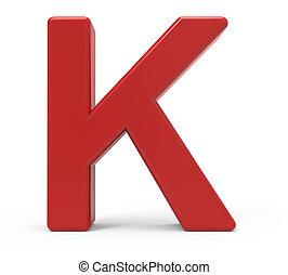 3d red letter K - 3d rendering red letter K isolated white...