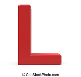 3d red letter L - 3d rendering red letter L isolated white...