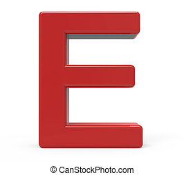 3d red letter E - 3d rendering red letter E isolated white...