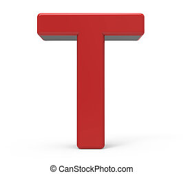 3d red letter T - 3d rendering red letter T isolated white...