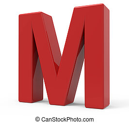 3d red letter M - right leaning 3d rendering red letter M...