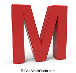 3d red letter M - left leaning 3d rendering red letter M...