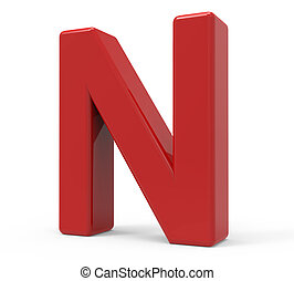 3d red letter N - right leaning 3d rendering red letter N...