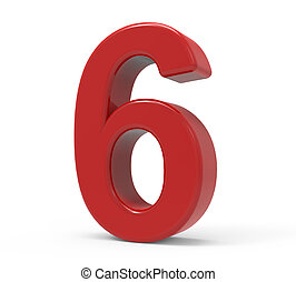 3d red number 6 - right leaning 3d rendering red number 6...