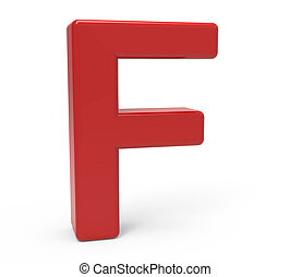 3d red letter F - left leaning 3d rendering red letter F...