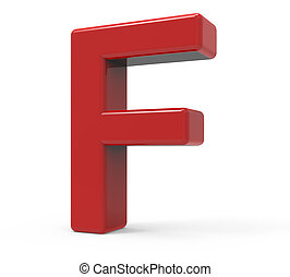 3d red letter F - right leaning 3d rendering red letter F...