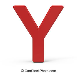 3d red letter Y - 3d rendering red letter Y isolated white...