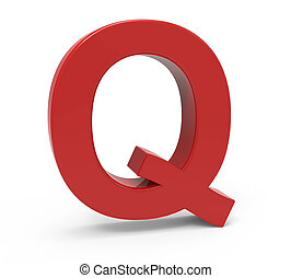 3d red letter Q - left leaning 3d rendering red letter Q...