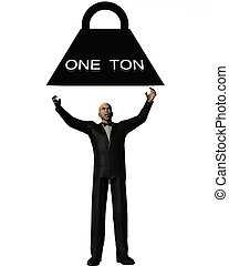 One Ton Crush - A conceptual image businessman who is about...