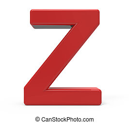 3d red letter Z - 3d rendering red letter Z isolated white...