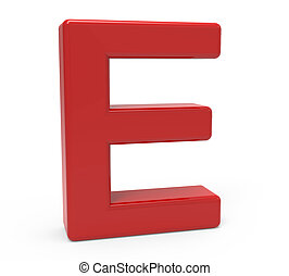 3d red letter E - left leaning 3d rendering red letter E...