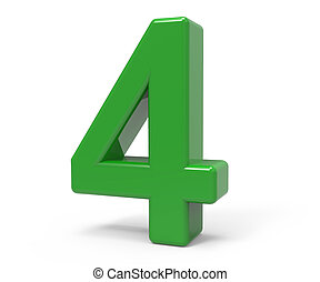 3d green number 4 - right leaning 3d rendering green number...