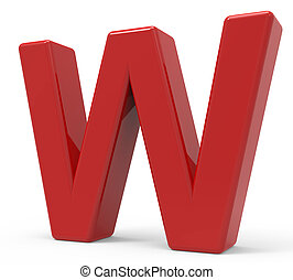 3d red letter W - right leaning 3d rendering red letter W...