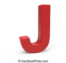 3d red letter J - left leaning 3d rendering red letter J...
