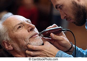 el suyo, viejo, obteniendo, afeitado, peluquero, Barba, hombre