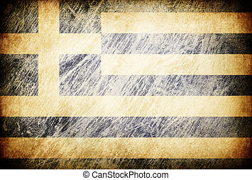 Grunge rubbed flag series of backgrounds. Greece.