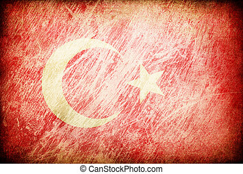 Grunge rubbed flag series of backgrounds. Turkey.