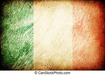 Grunge rubbed flag series of backgrounds. Ireland.