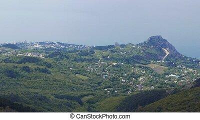 Panorama of the coast of the Crimea. Mountain Cat, Blue Bay....