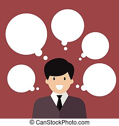 Thinking businessman with a lot of bubbles. Vector...