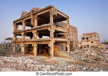 After a natural disaster - ruined buildings - Landscape of...