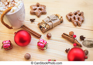 Christmas cookies with festive decoration on wooden...