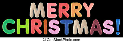 Merry christmas. Words isolated on black background. - Merry...