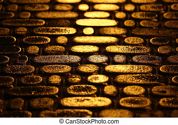 structure of road pavement in the night the reflection of the lights