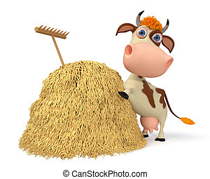 3d illustration the cow costs near a haystack - 3d...