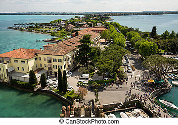 Aerial View of peninsula with Sirmione town from the...