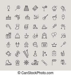 Outline icons set - winter, christmas, holiday, party,...