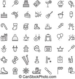 Outline icons - winter, christmas, holiday, party, birthday...