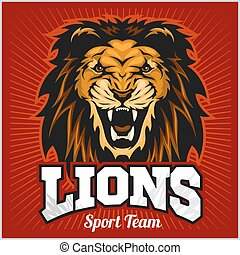 Lions - sport team logo template. Lion head on the shield....