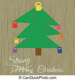 Christmas card witch christmas tree wit kettlebels - Vector...