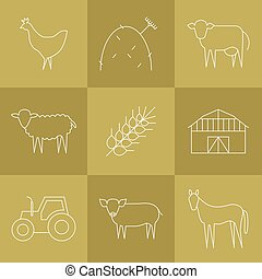 Farming icons set. - Vector agriculture, farming line icons....