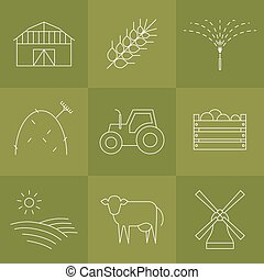 Agriculture icons set. - Vector agriculture, farming line...