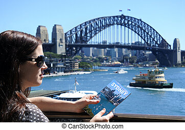 Woman traveler visit in Sydney Australia - Woman traveler...