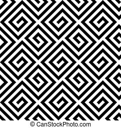 Seamless greek fret key pattern in black and white -...