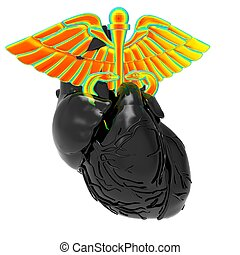 Caduceus Symbol inside Human Heart on a white background. 3d Rendering
