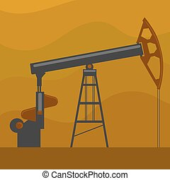 Oil well cartoon vector illustration