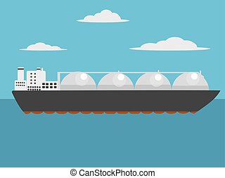 Liquefied natural gas carrier ship vector - Liquefied...