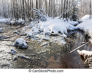 confluence of two small rivers in winter