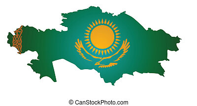 kazakhstan map - some old vintage map with flag of...