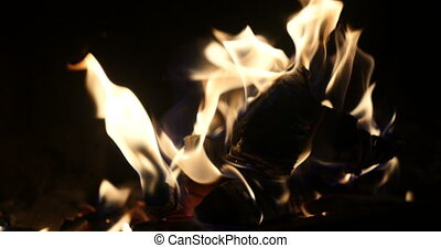 clip of a fireplace with medium size flames - A looping clip...