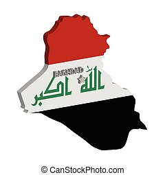 iraq - 3d map of iraq with flag and capital marked
