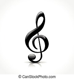 treble clef icon - illustration of treble clef icon on white...