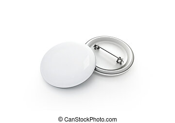 Blank white button badge stack mockup, isolated, clipping...